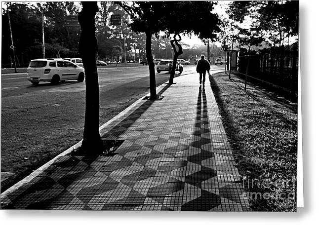 Lonely Man Walking At Dusk In Sao Paulo Greeting Card