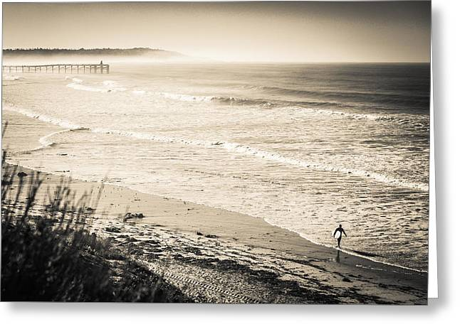 Greeting Card featuring the photograph Lonely Pb Surf by T Brian Jones