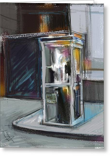 Lonely Phone Booth Greeting Card by Russell Pierce