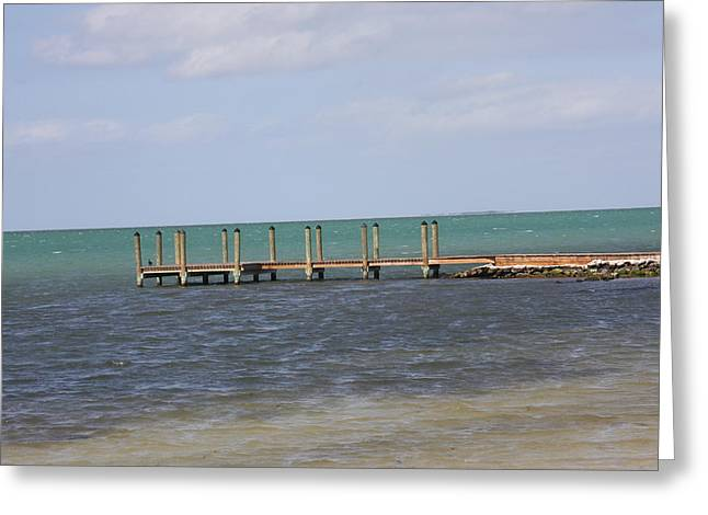 Lonely Pier Greeting Card by Bonnes Eyes Fine Art Photography