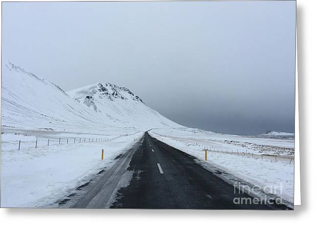Lonely Road On Snaefellsnes Peninsula Greeting Card