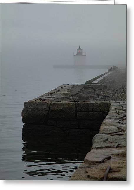 Greeting Card featuring the photograph Lonely Salem Lighthouse In Fog by Jeff Folger