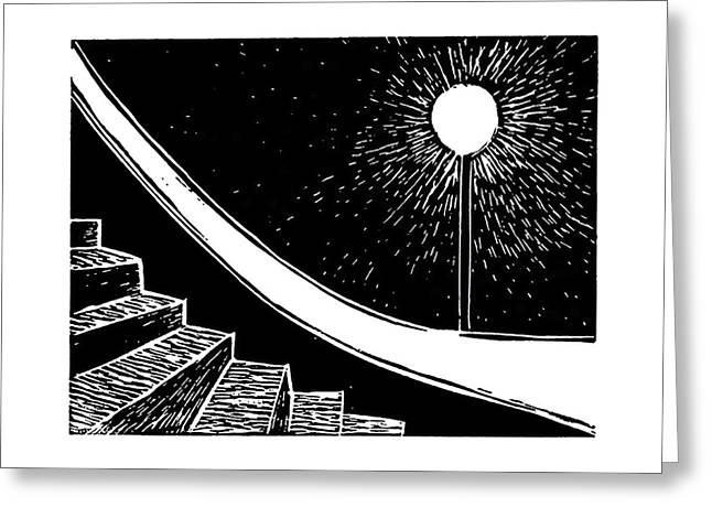 Lonely Streetlight Greeting Card by Ann Giorgi