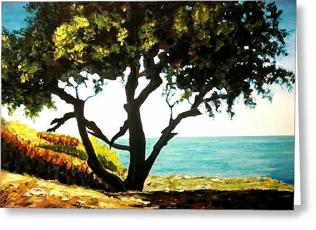 Greeting Card featuring the painting Lonely Tree By The Beach by Ray Khalife