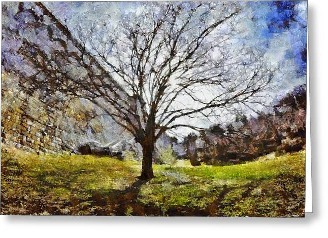Greeting Card featuring the painting Lonely Tree by Derek Gedney