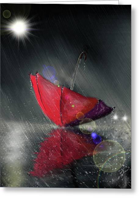 Greeting Card featuring the digital art Lonely Umbrella by Darren Cannell