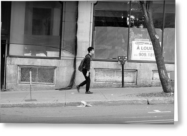 Greeting Card featuring the photograph Lonely Urban Walk by Valentino Visentini