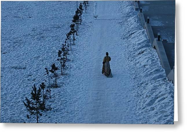 Lonely Walk/tsagaan Sar Greeting Card by Diane Height