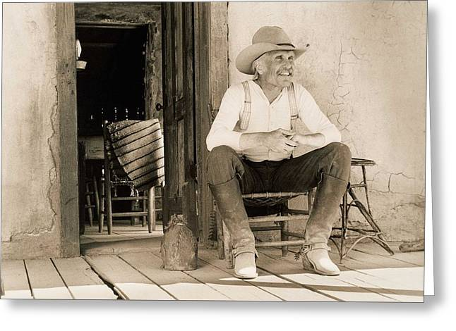 Lonesome Dove Gus On Porch  Greeting Card