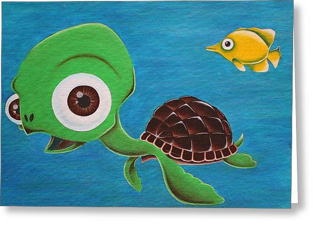 Lonesome Fish And Friendly Turtle Greeting Card by Landon Clary