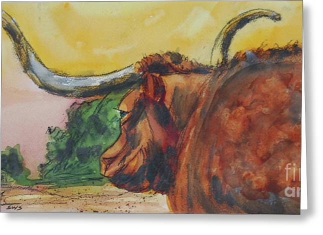 Lonesome Longhorn Greeting Card by Ron Stephens