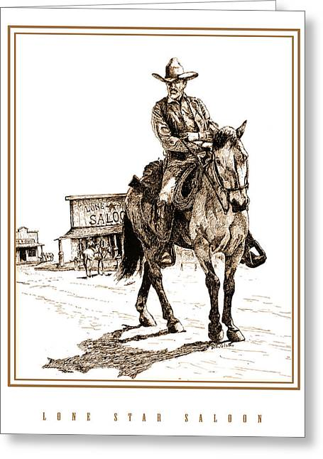 Saloons Drawings Greeting Cards - Lonestar Saloon Greeting Card by Joe Gish