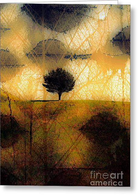 Lone Tree On A Hill Abstract In Autumn Greeting Card