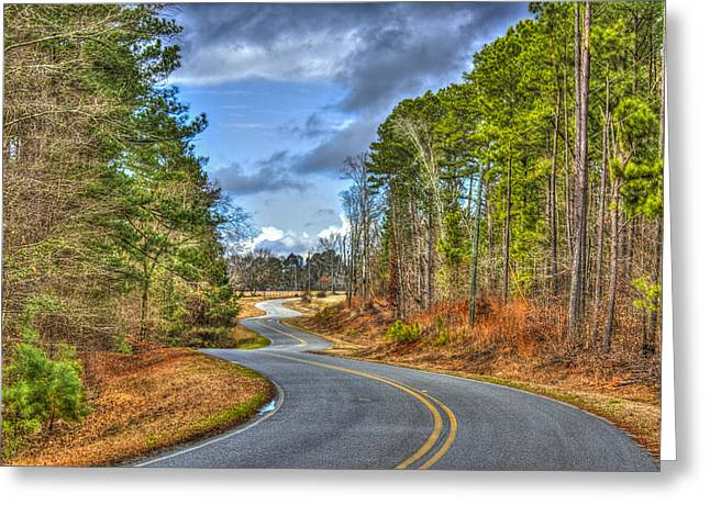 Long And Winding Gray Horse Road Greeting Card