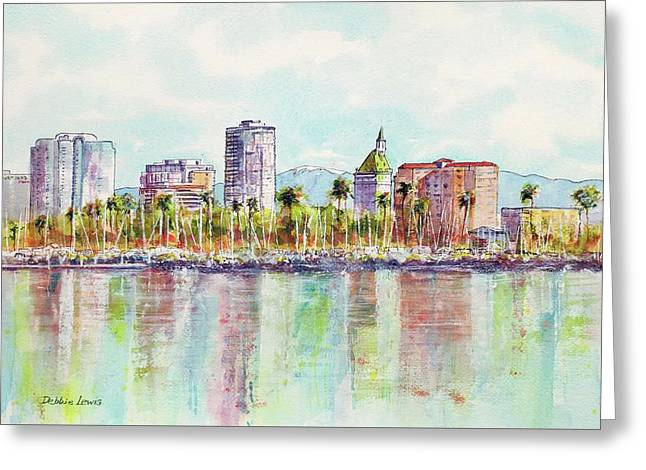 Long Beach Coastline Reflections Greeting Card