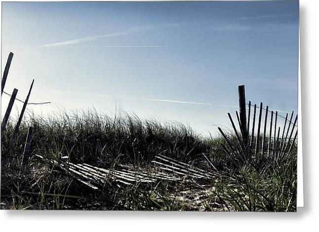 Long Beach Fence Greeting Card