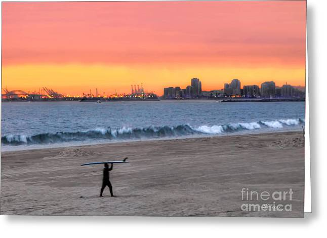 Long Beach From Huntington Beac Greeting Card