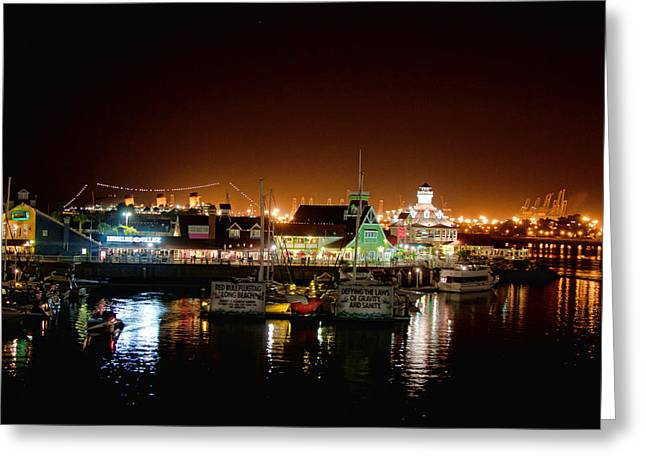 Beach At Night Digital Art Greeting Cards - Long Beach Shoreline Greeting Card by Ronald Talley
