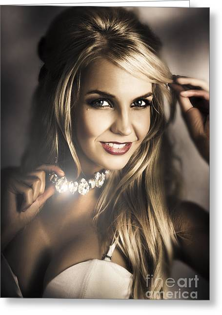 Long Blond Hair Fashion Girl In Night Makeup  Greeting Card by Jorgo Photography - Wall Art Gallery
