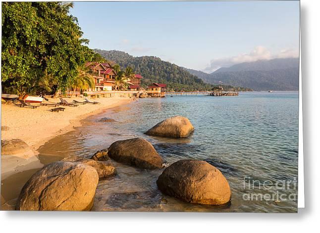 Long Chairs On A Beach In Pulau Tioman, Malaysia Greeting Card