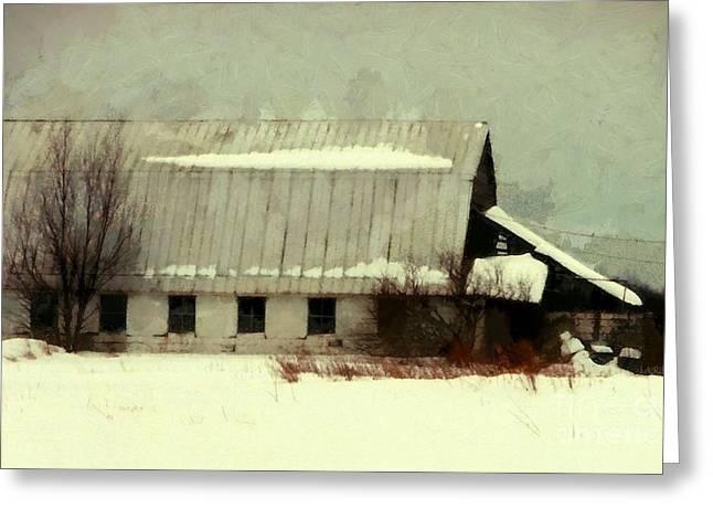 Greeting Card featuring the photograph Long Cold Winter - Winter Barn by Janine Riley