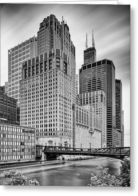 Long Exposure Image Of Chicago River Civic Opera House And Top Of The Willis Tower - Illinois Greeting Card by Silvio Ligutti