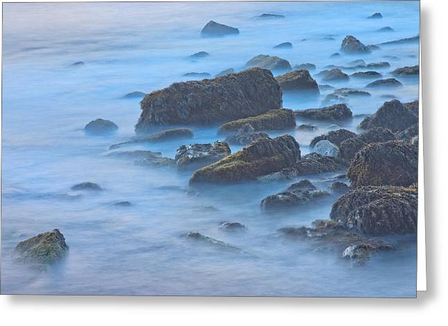 Long Exposure Of Rocks And Waves At Sunset. Greeting Card by Keith Webber Jr