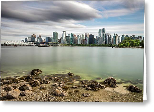 Greeting Card featuring the photograph Long Exposure Of Vancouver City by Pierre Leclerc Photography