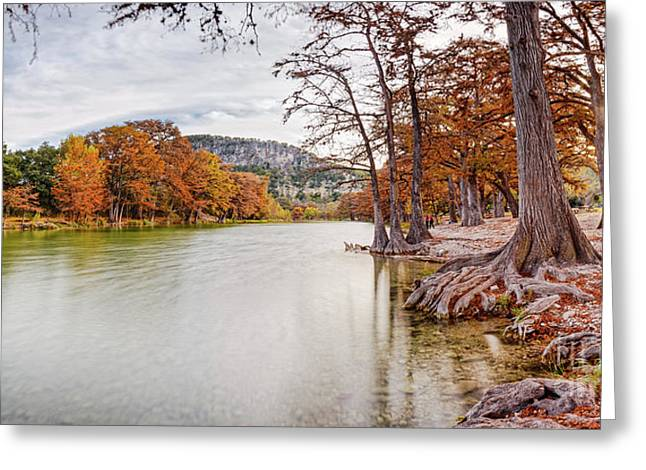 Long Exposure Panorama Of The Frio River And Old Baldy At Garner State Park - Texas Hill Country Greeting Card by Silvio Ligutti