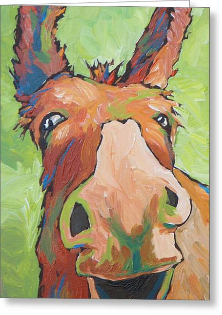 Long Face Greeting Card by Sandy Tracey