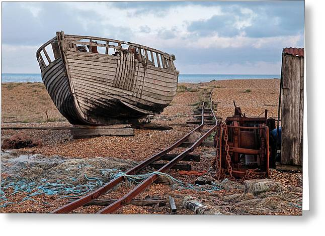 Long Forgotten -  Rusty Winch And Old Fishing Boat Greeting Card by Gill Billington