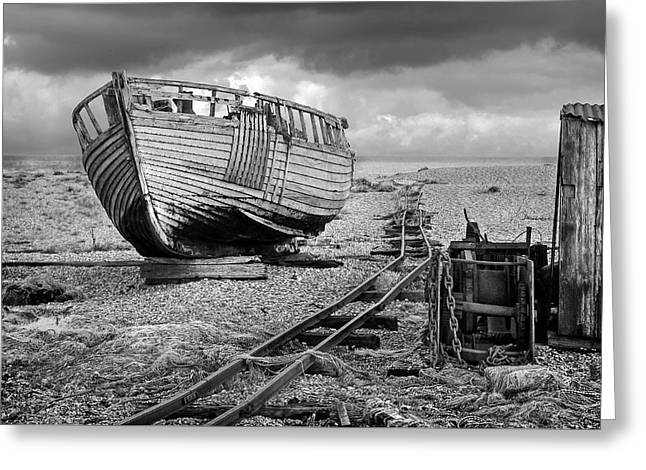 Long Forgotten - Rusty Winch And Old Fishing Boat In Black And White Greeting Card by Gill Billington