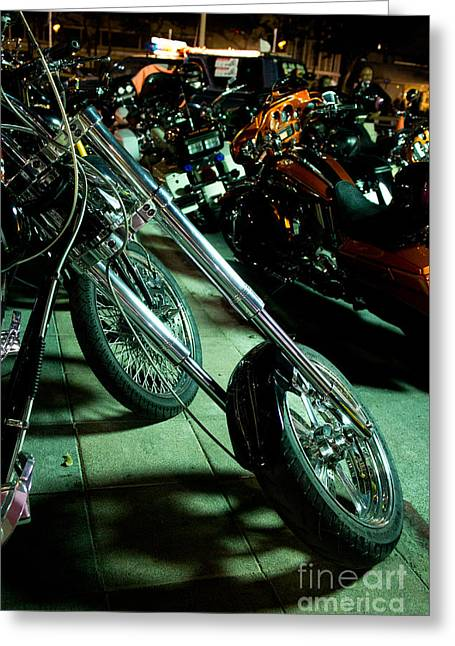 Long Front Fork And Wheel Of Chopper Bike At Night Greeting Card by Jason Rosette