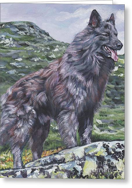 Greeting Card featuring the painting Long Hair Dutch Shepherd by Lee Ann Shepard