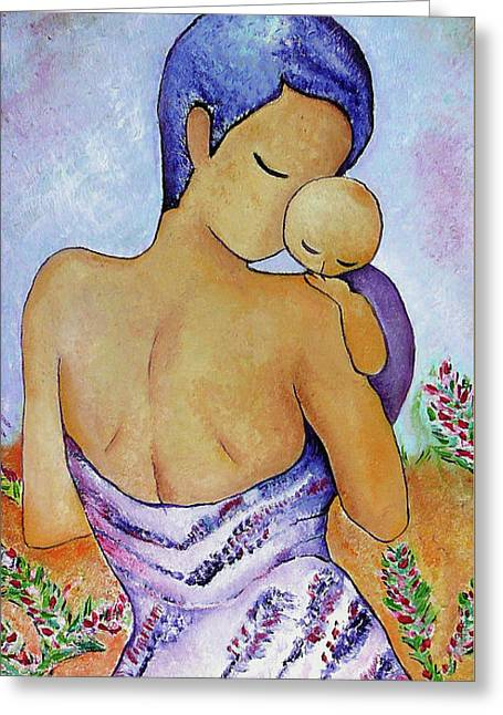 Greeting Card featuring the painting Long Impasto Motherhood Vertical Painting  by Gioia Albano