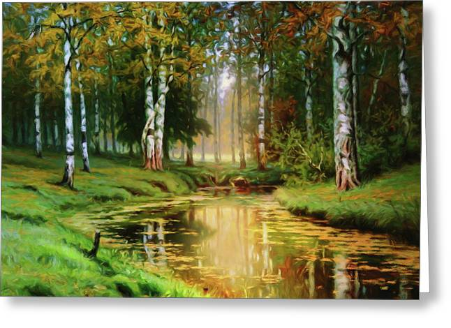 Long Indian Summer In The Woods Greeting Card by Georgiana Romanovna
