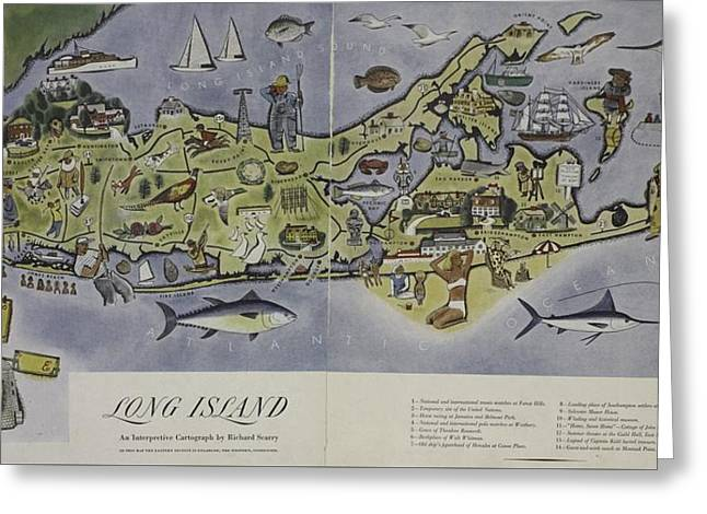 Greeting Card featuring the photograph Long Island An Interpretive Cartograph by Duncan Pearson