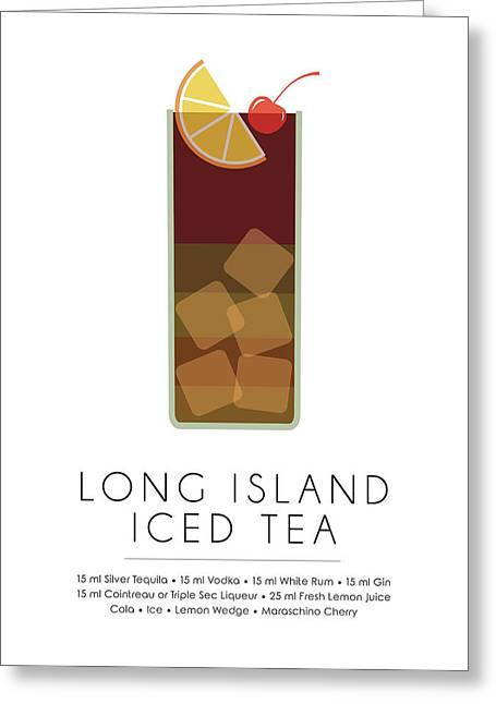 Long Island Iced Tea Classic Cocktail - Minimalist Print Greeting Card