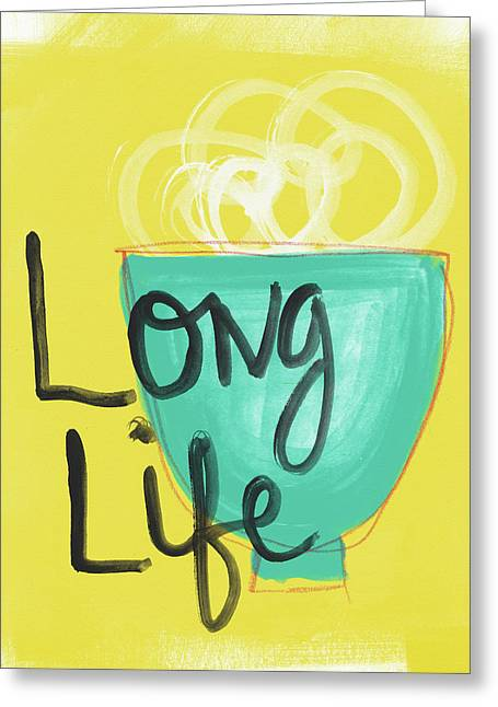 Long Life Noodles- Art By Linda Woods Greeting Card