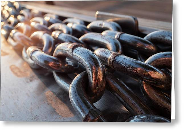 Long Metal Chains On A Boat Dock Near The Water In Green Bay Wisconsin Greeting Card