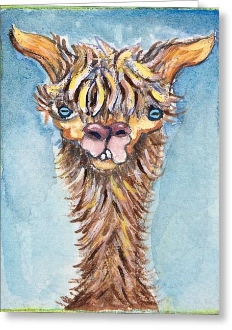 Long Neck Alpaca Greeting Card by Michelle Spiziri