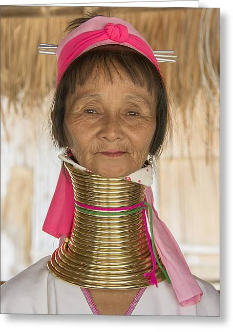 Long Necked Karen Woman Greeting Card by Wade Aiken