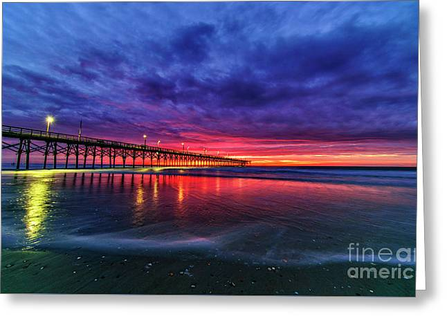 Greeting Card featuring the photograph Long Pier by DJA Images