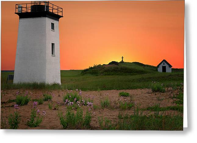 Long Point Light Sunset Greeting Card by Bill Wakeley