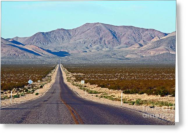 Long Road Out Of Beatty Greeting Card by Steve  Gass