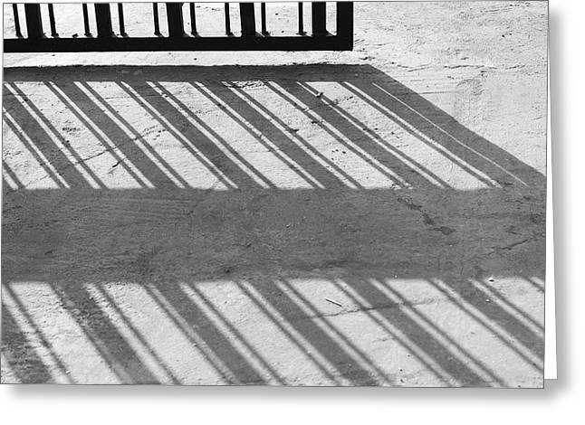 Long Shadow Of Metal Gate Greeting Card by Prakash Ghai