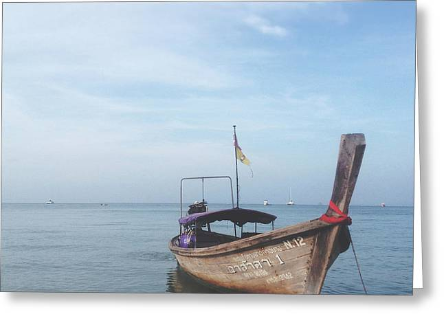 Greeting Card featuring the photograph Long Tail Boat Stillness by Ivy Ho