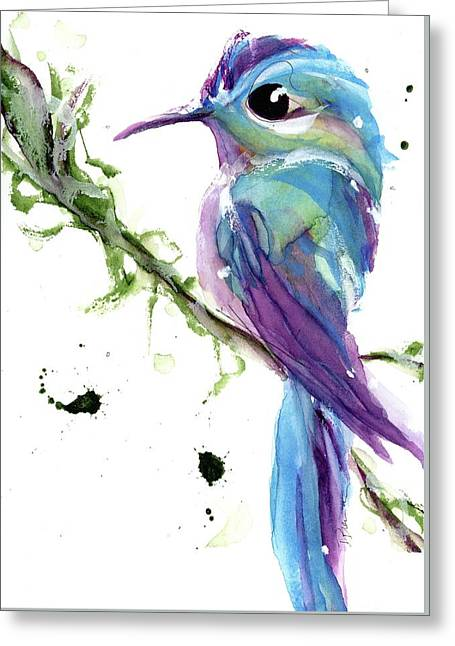 Greeting Card featuring the painting Long-tailed Sylph by Dawn Derman