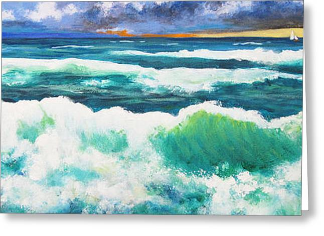 Long Thin Wave Greeting Card by Anne Marie Brown