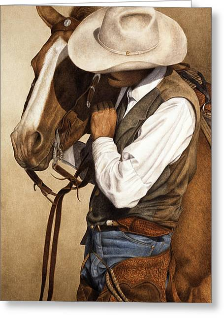 Cowboys Greeting Cards - Long Time Partners Greeting Card by Pat Erickson
